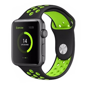Silikonband för Apple Watch Svart/Grön 42/44mm