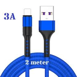 2m - BLÅ - Lightning 3A - /kabel/laddsladd/ snabbladdning