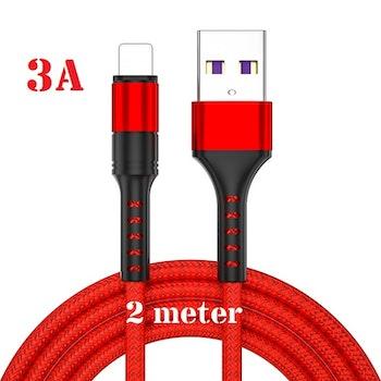 3-pack 2m - RÖD - Lightning 3A - /kabel/laddsladd/ snabbladdning