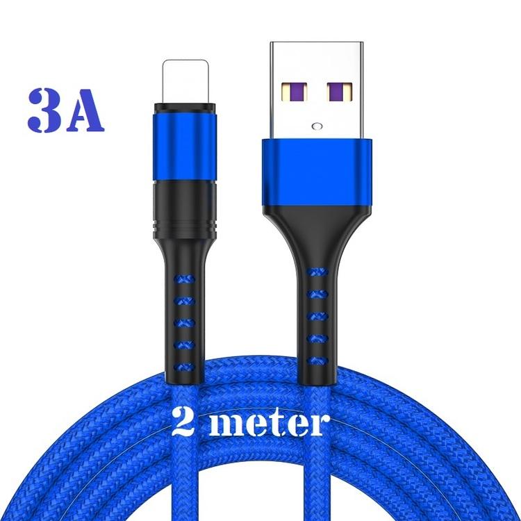 3-pack 2m - BLÅ - Lightning 3A - /kabel/laddsladd/ snabbladdning
