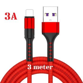 3m - RÖD- Lightning 3A - /kabel/laddsladd/ snabbladdning
