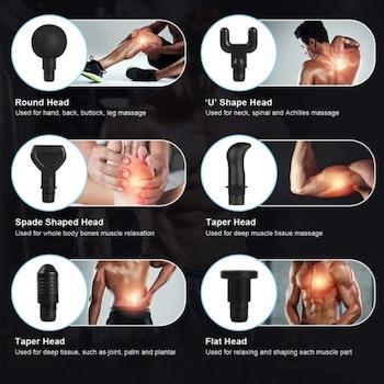 Massagepistol med 30 Hastigheter - 6 huvuden - Kolfiber