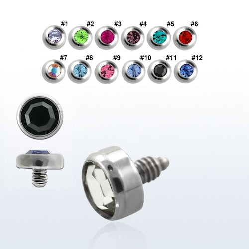 Dermal piercing 1.2mm med 5mm crystaltopp