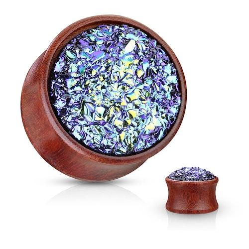 Träplugg med blått glitter