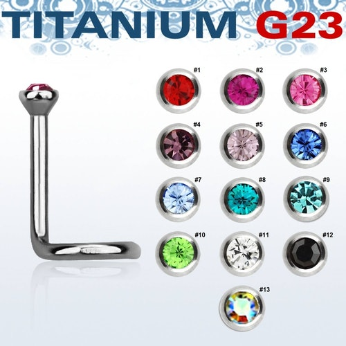 "Titanium Nässmycke ""Nose Screw"" 0.8mm med crystal"