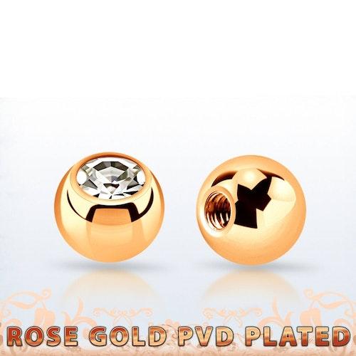Lös kula roséguld 3mm med crystal 1.2mm gänga (lös del)
