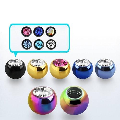 PVD-Pläterad Lös kula 3mm diameter 1.6mm gänga med crystal (lös del)