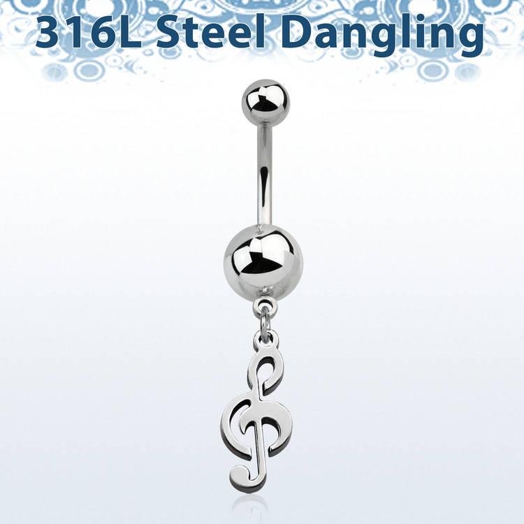 Navelsmycke i stål - Musiknot