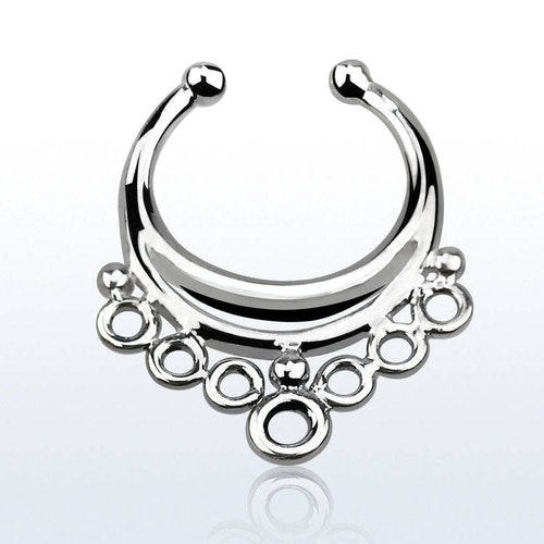 Fake septum / septum hanger i 925-silver - Indian Style