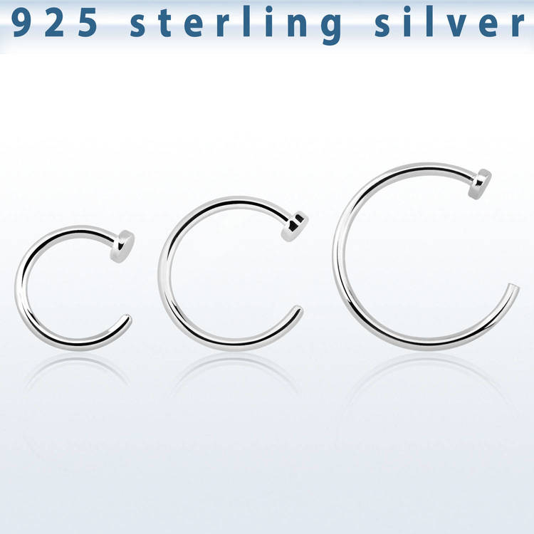 925 Silver Fake Näsring / Nose Hoop 0.8mm
