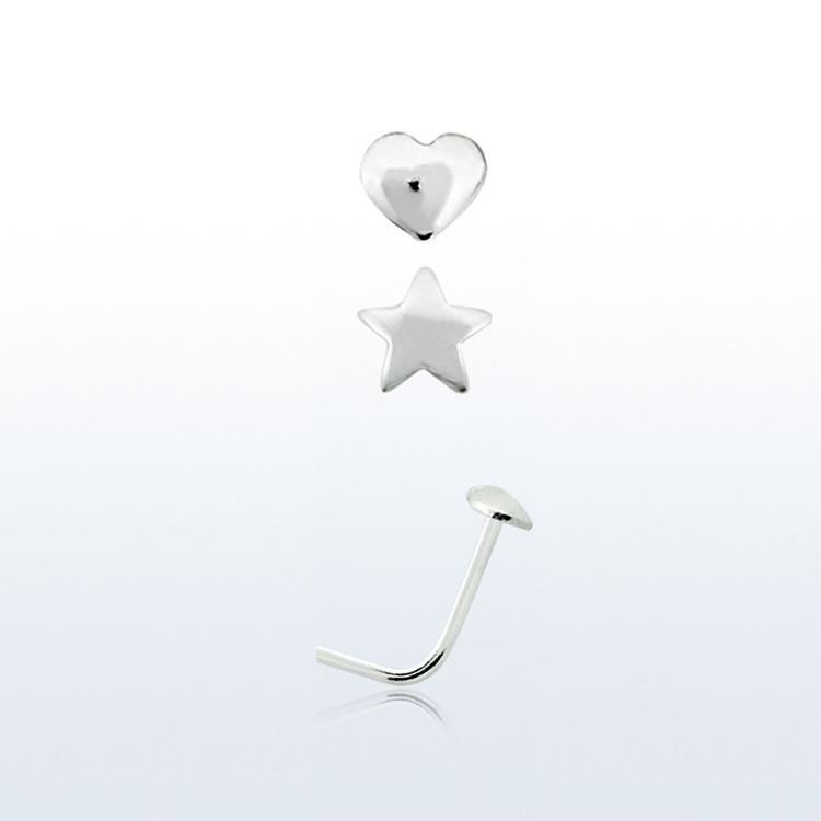 Nässmycke i silver 0.6mm med 2.5mm Hjärta eller Stjärna