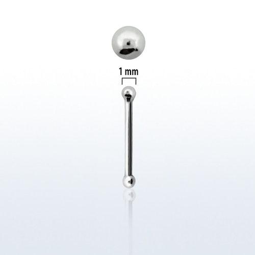 """Nässmycke """"nose bone"""" i silver 0.6mm med 1mm boll"""