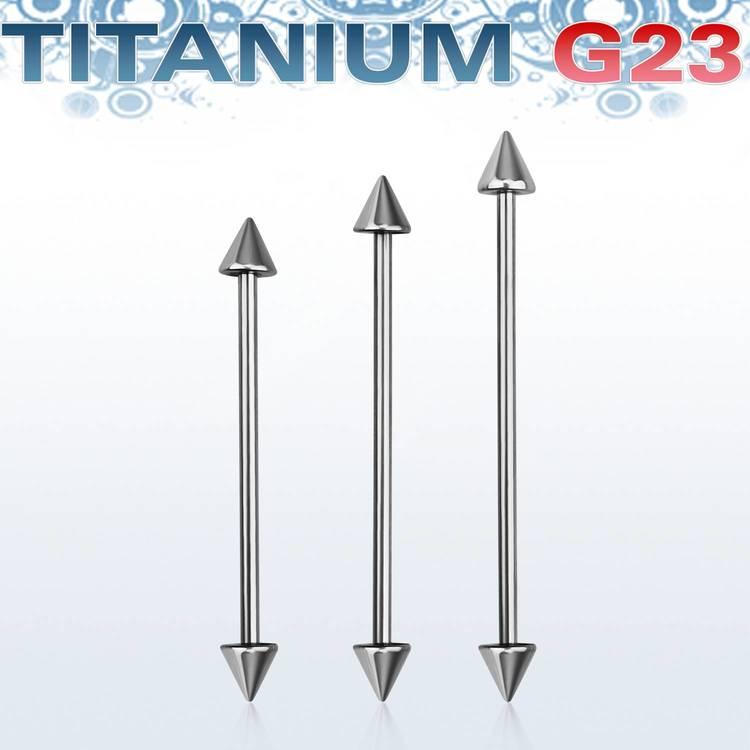 Titanium Industrial Barbell 1.6mm med 5mm kona