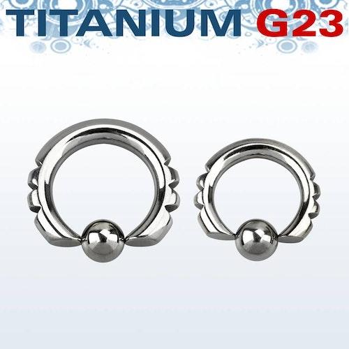 """Titanium BCR med """"hack"""" och 8mm kula"""