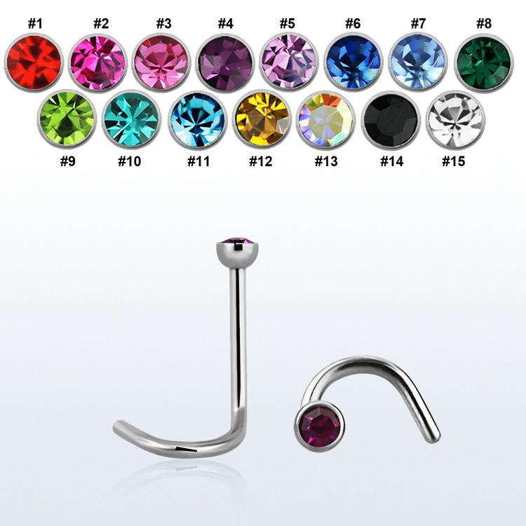 "Nässmycke ""Nose Screw"" 0.8mm med crystal"