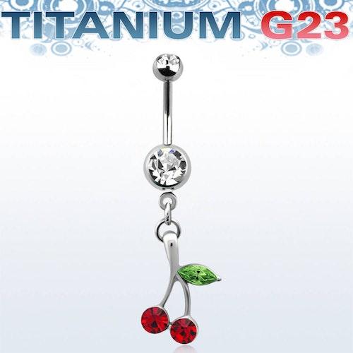 Titanium Navelsmycke - Körsbär