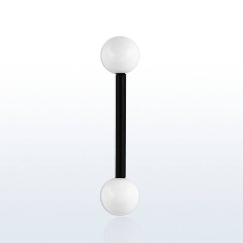 Barbell / Tungstav Akryl (svart stav/vita kulor)