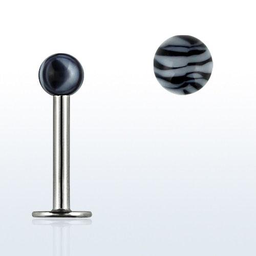 Labret / Monroe 1.2mm med 3mm zebrakula (8mm)