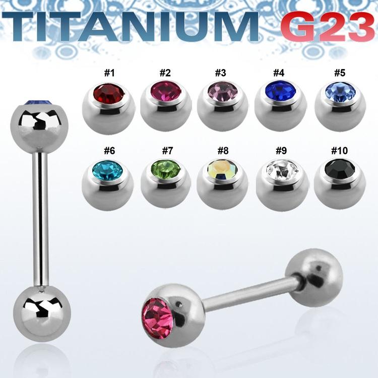 Titanium Barbell / Tungstav 1.6mm med 6mm crystalkula