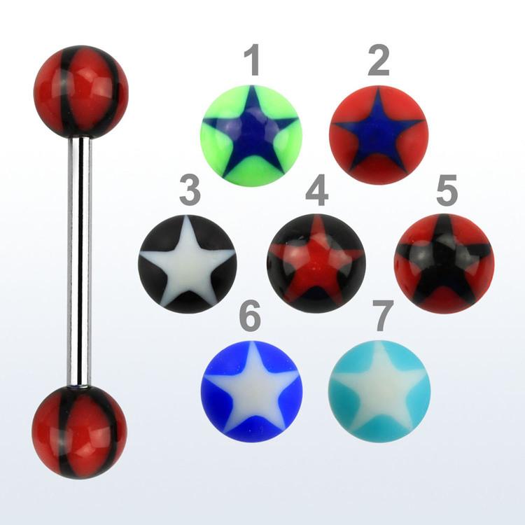 Barbell med 6mm akrylkulor med stjärna