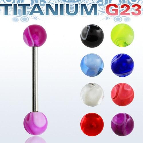 Titanium Barbell 1.6mm med 6mm akrylkulor