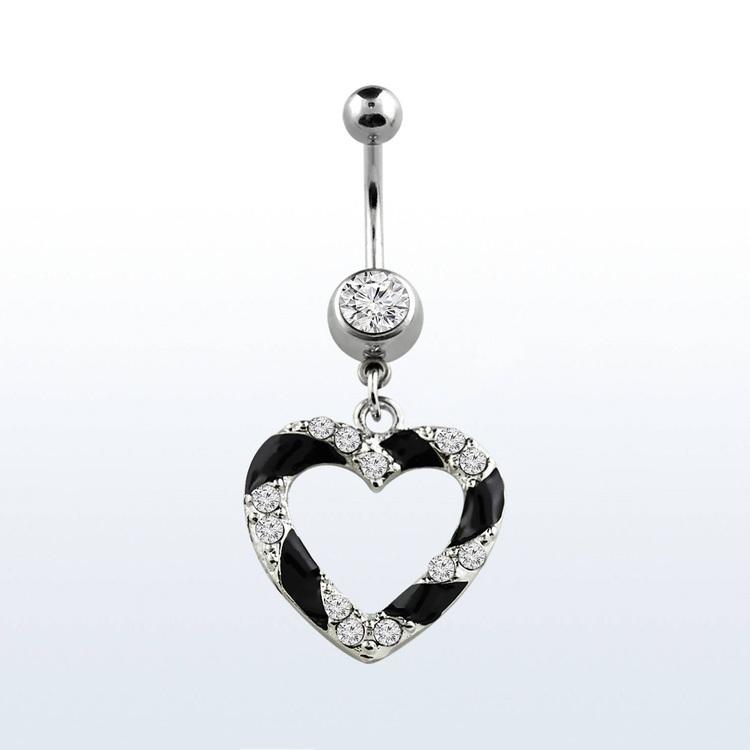 Navelsmycke - Svart hjärta med crystal