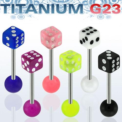 Titanium Barbell 1.6mm med 5mm tärning