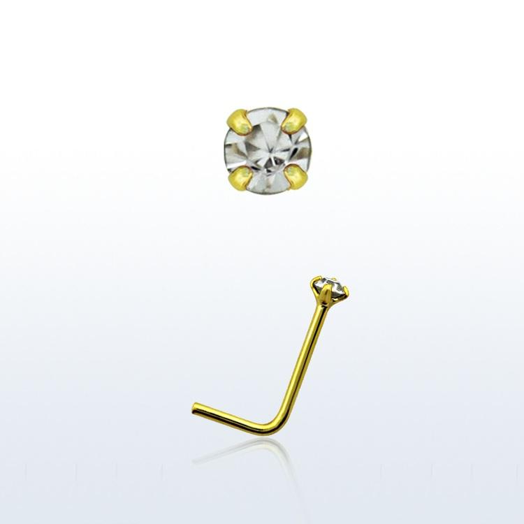 """Näspin """"nose stud"""" 925 silver med guldplätering 1.5mm klar sten"""