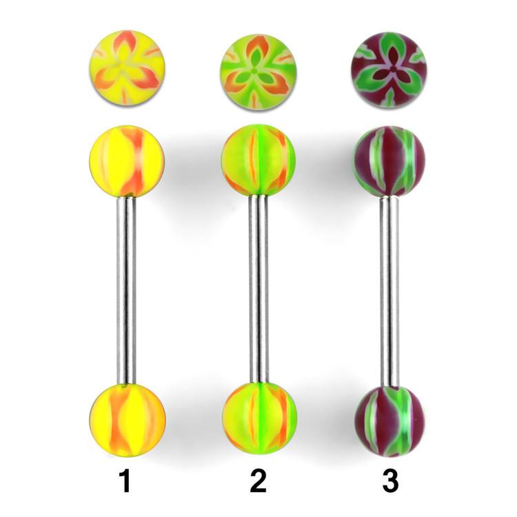 Tungstav / Barbell 1.6mm med blommiga kulor