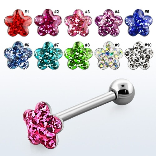 Barbell / Tungstav 1.6mm med crystalklädd blomma