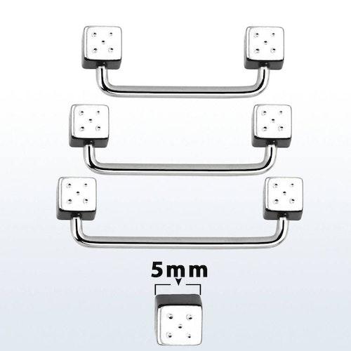 Industrial / Surface Barbell 1.6mm med 5mm tärningar