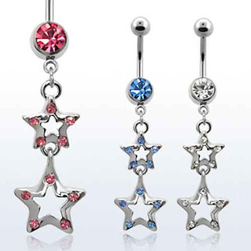 Navelsmycke - Stjärna med crystal