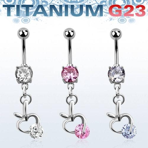 Titanium Navelsmycke - Äpple med cubic zirconia
