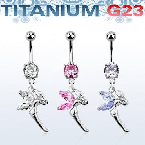 Titanium Navelsmycke - Älva med cubic zirconia