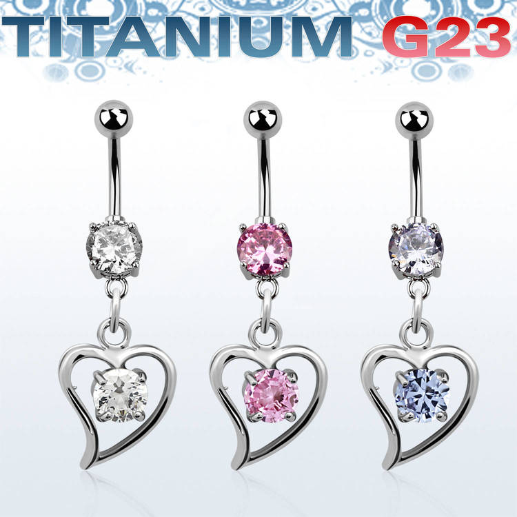 Titanium Navelsmycke - Hjärta med cubic zirconia