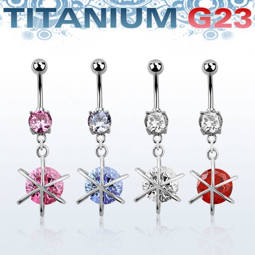 Titanium Navelsmycke - Stor cubic zirconia