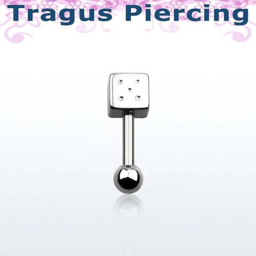Tragus Barbell 1.2mm med 3mm kula och 4mm tärning