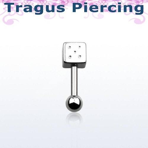 Tragus Barbell 1.2mm med 3mm kula och 4mm tärning