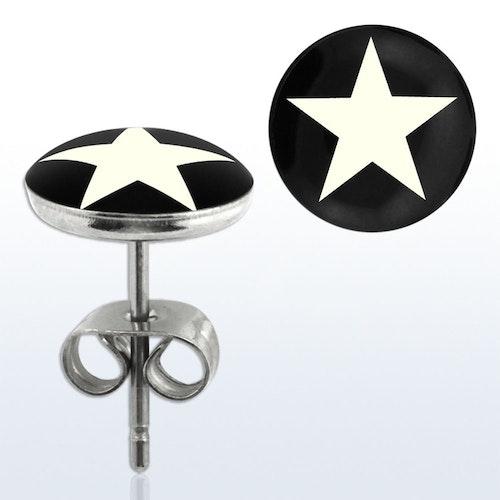 Öronpin - Vit stjärna (par)