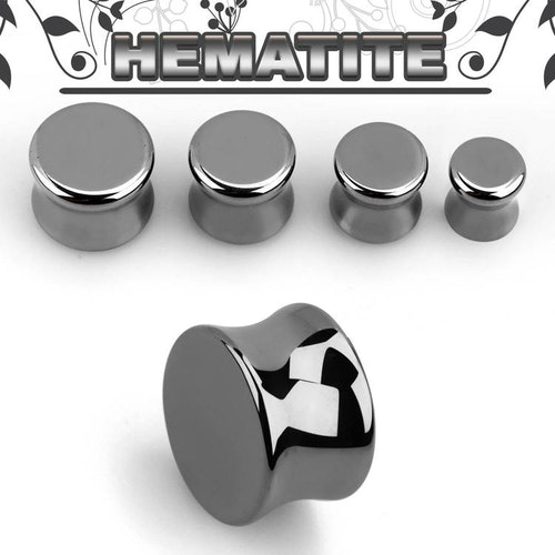 Hematit Double Flare Stenplugg