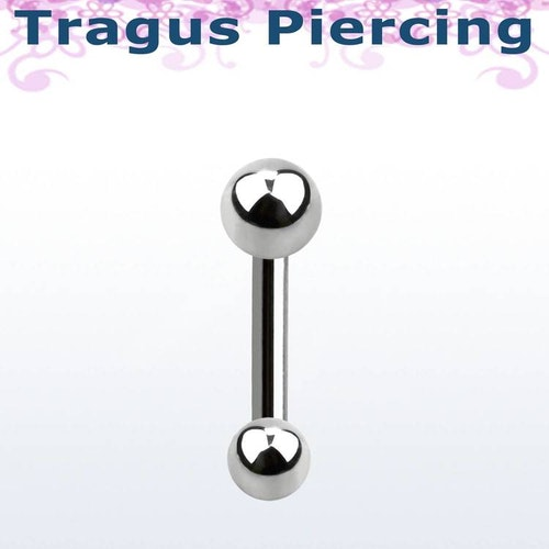 Tragus Barbell 1.2mm med 3mm kula och 4mm kula