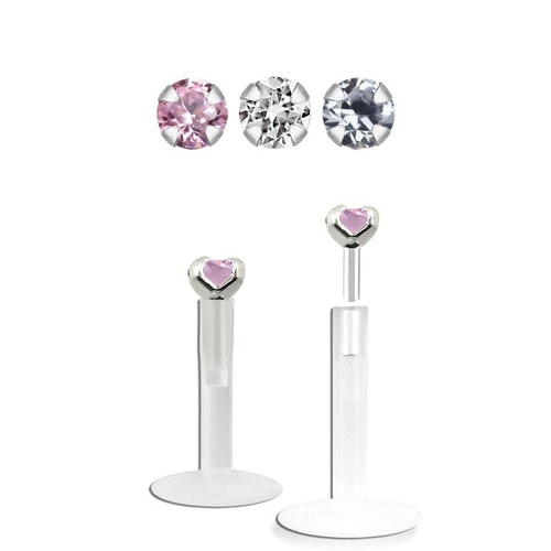 Bio-Flex Labret / Monroe 1.2mm med 1.5mm Prong-Set CZ