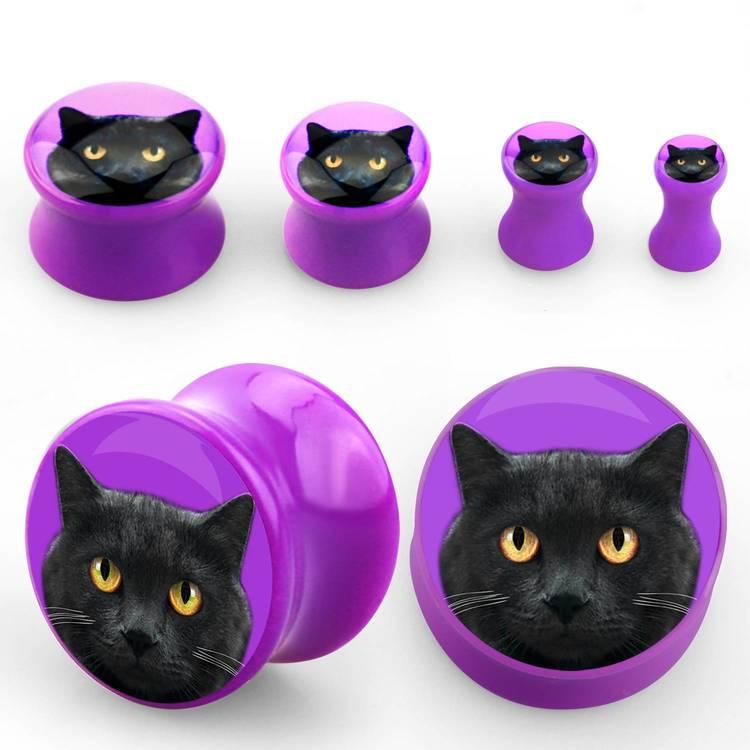 Lila akrylplugg med svart katt