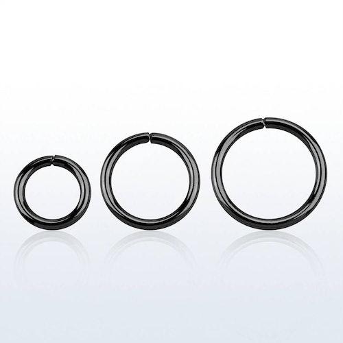 Svartpläterad 925-silver sömlös ring 1.2mm