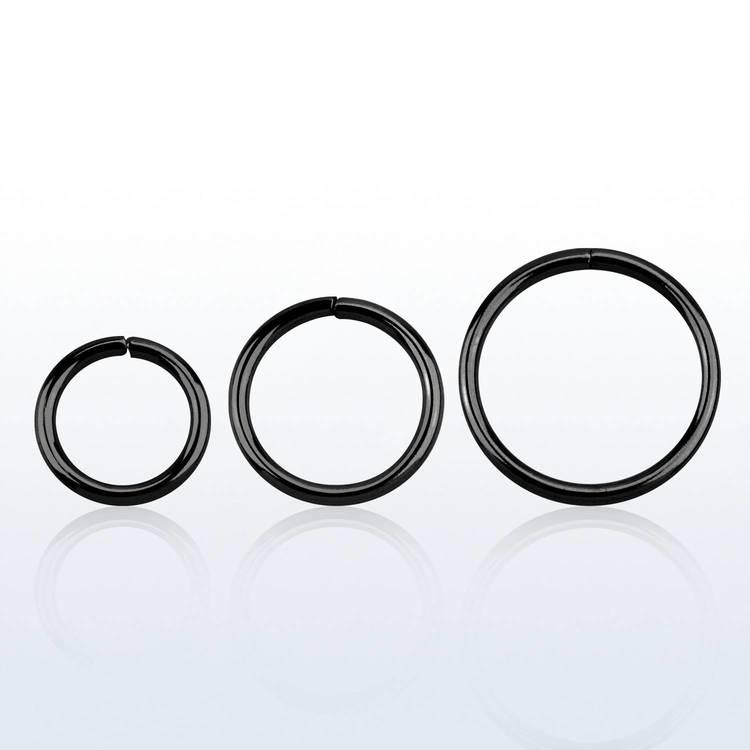 Svartpläterad 925-silver sömlös ring 1.0mm