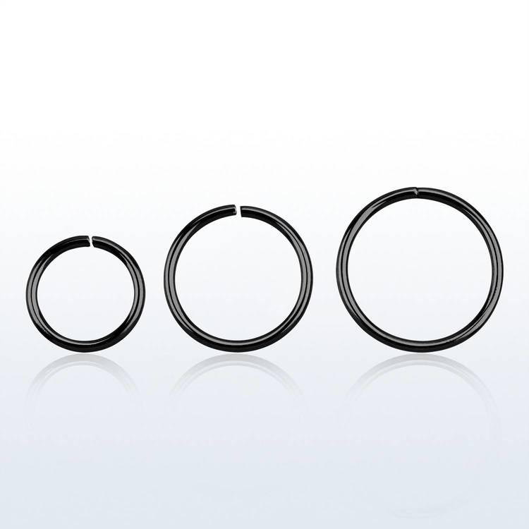 Svartpläterad 925-silver sömlös ring 0.8mm