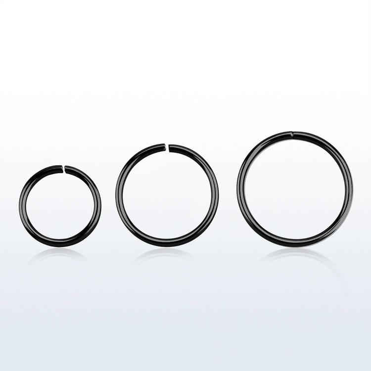Svartpläterad 925-silver sömlös ring 0.6mm