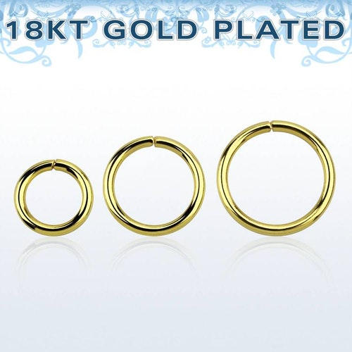 Guldpläterad 925-silver sömlös ring 1.2mm