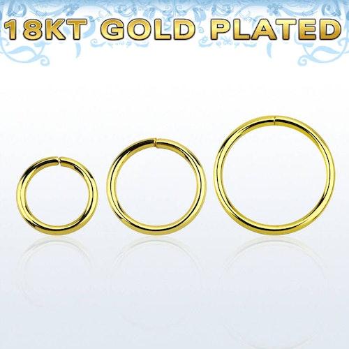 Guldpläterad 925-silver sömlös ring 1.0mm
