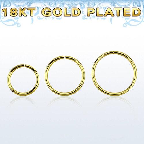 Guldpläterad 925-silver sömlös ring 0.6mm